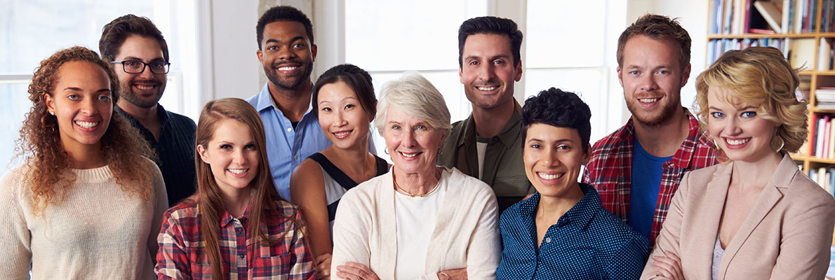 large group of diverse people with different races and age smiling together